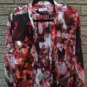 Calvin Klein Maroon Print Long Sleeve Shirt